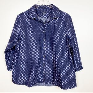 Lands End Polka Dot Button Front Shirt ¾ Sleeve 18